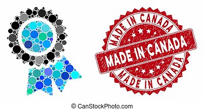 Mosaic certification and corroded stamp watermark with Made in Canada phrase. Mosaic vector is designed with certification icon and with random spheric spots. Made in Canada stamp seal uses red color,