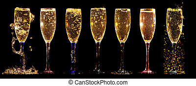 collage,  champagne, occhiali