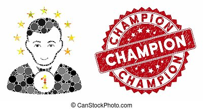 Collage Champion with Scratched Champion Stamp