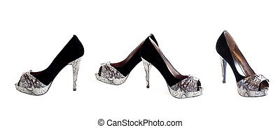 collage, chaussures, femmes