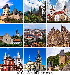collage, checo, imágenes, praha