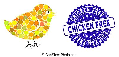 Collage Chick Icon with Grunge Chicken Free Stamp