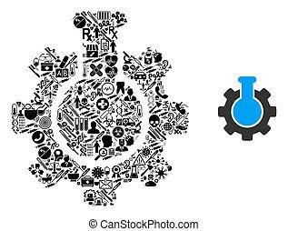 collage, chimique, industrie, symboles, healthcare