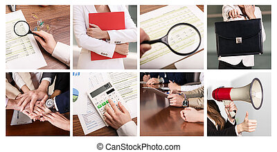 collage, choses, business
