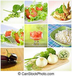 collage, cibo, sano