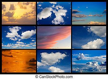 collage, ciel, images, nuages, beaucoup