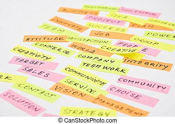 collage, cierre, empresa / negocio, arriba, palabras