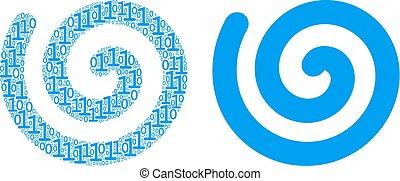 collage, cijfers, spiraal, binair
