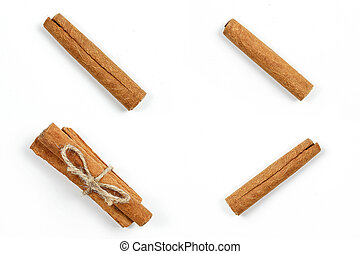 collage. cinnamon sticks on white isolated background.