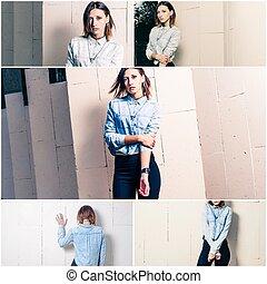 collage, cinq, mode, jeunes femmes, mode rue, regard