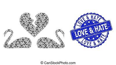 collage, cisnes, redondo, amor, recursion, divorcio, odio, ...