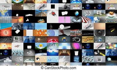 collage, clips, vidéo