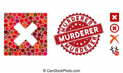 Collage Close Icon with Textured Murderer Stamp