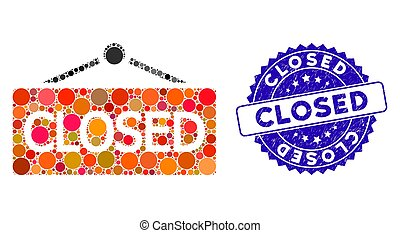 Collage Closed Announce Icon with Scratched Closed Seal