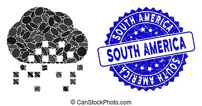 Collage Cloud Dissipation Icon with Scratched South America ...