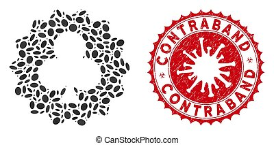 Collage Clubs Token Icon with Coronavirus Scratched Contraband Seal