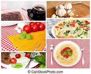 collage, cocina, -, europeo