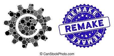 Mosaic cogwheel rotation icon and grunge stamp seal with Remake phrase. Mosaic vector is created with cogwheel rotation icon and with random circle elements. Remake stamp uses blue color,