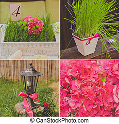 Collage collection of wedding details from ceremony and reception