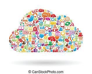 collage, color, nube, informática