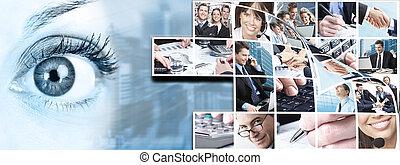 collage., comércio pessoas, equipe