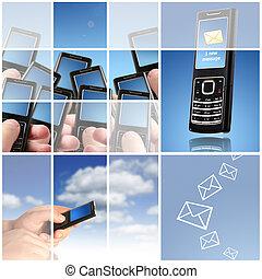 Collage. Communication concept.