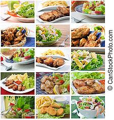 collage, composizione, insalata