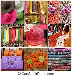 collage, compras, italia
