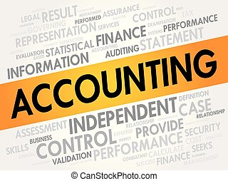 collage, comptabilité, mot, nuage