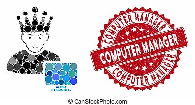 Collage Computer Moderator with Grunge Computer Manager Stamp
