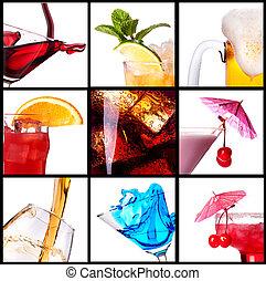 collage, con, alcohol, cócteles