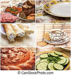 collage, con, comidas