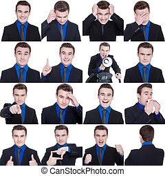 collage, con, diferente, emociones