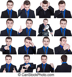 collage, con, differente, emozioni