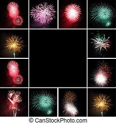 collage, con, fuegos artificiales, y, espacio, para, texto