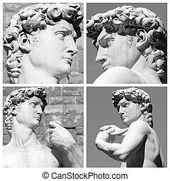 collage, con, imágenes, de, david, escultura, por,...