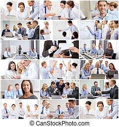 collage, con, muchos, empresarios, en, oficina