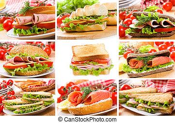 collage, con, sándwiches