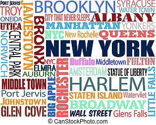 collage, con, vario, palabras, con, nueva york