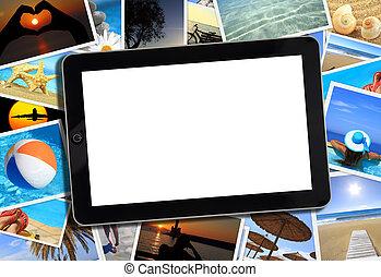 collage, con, vario, verano, viaje, fotografía, y, tableta