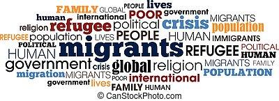 collage, concepto, palabra, ilustración, migrant