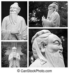 collage, confucius, estatuas, china