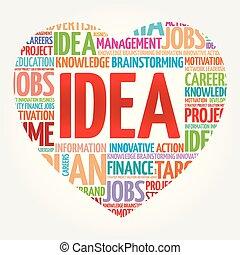 collage, corazón, palabra, idea, nube