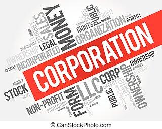 collage, corporación, palabra, nube