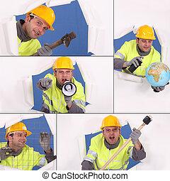collage, costruzione, lavoratore, animato