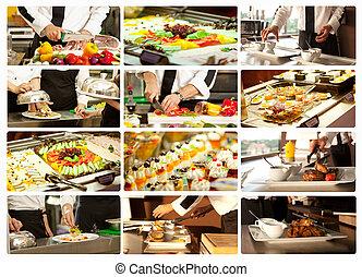 collage, cottura, ristorante