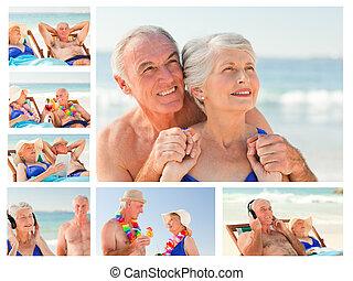 collage, couple, ensemble, dépenser, personnes agées, temps, plage