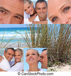 collage, couple, plage