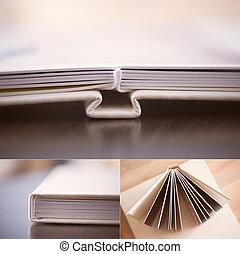 Collage: cream leatherette photo book