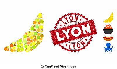 Collage Croissant Icon with Textured Lyon Stamp